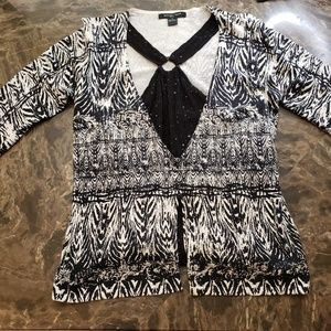 August Silk Knits Black & White Faux 2 in 1 Top M